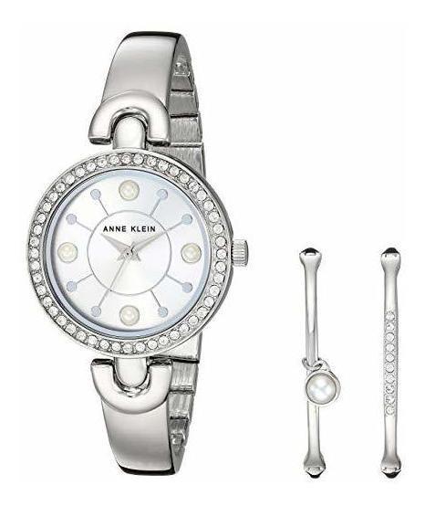 Reloj Y Set Pulseras Anne Klein Mujer Cristales Swarovski