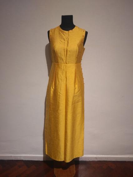 Vestido De Fiesta/casamiento Retro Vintage Amarillo Bordado