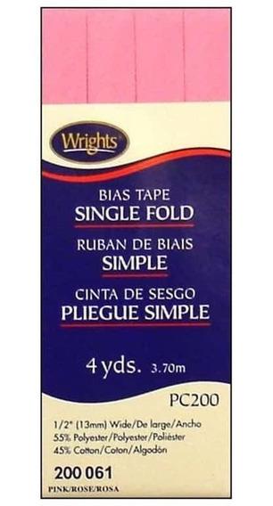 Cinta Al Bies De Doblez Simple De 1,2 Cm Rosa Pc200 Wrights