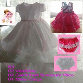 Kit 2 Vestidos + 2 Calcinhas + 1 Meia Calça Infantil Festa