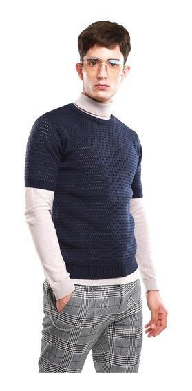 Suéter Ligero Hombre Cuello Redondo Color Azul Marino Lob