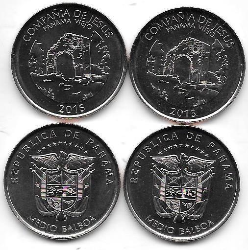 Moneda Panama 1/2 Balboa Año 2016 Compañia Jesus Panama Viej