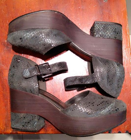 Zapatos De Cuero Gris Satinado Escamas Hush Puppies