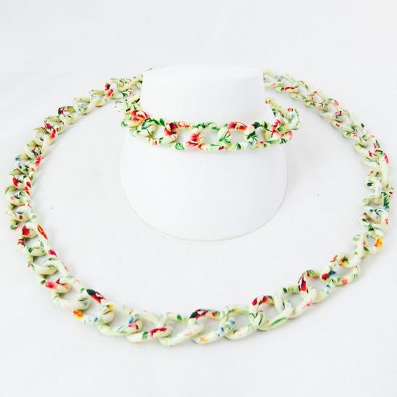 Set Ceramica Blanca Con Rosas (cadena Y Pulso)