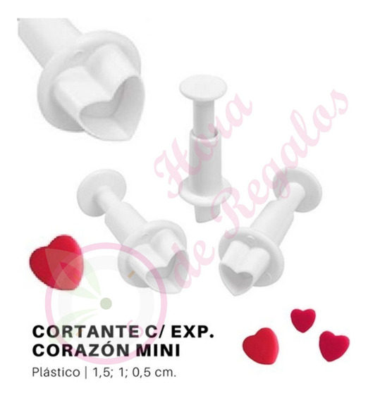 Set 4 De Cortantes Expulsor Mini Corazon Fondant Porcelana