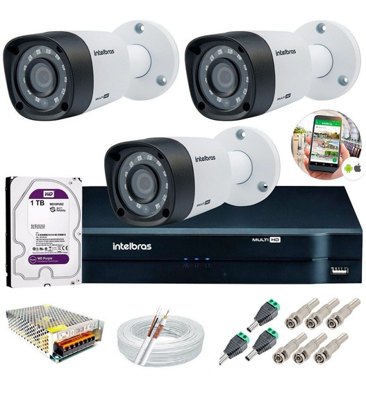 Kit 3 Câmeras Intelbras Vhd 3130 B Dvr Multi Hd + Hd1tb