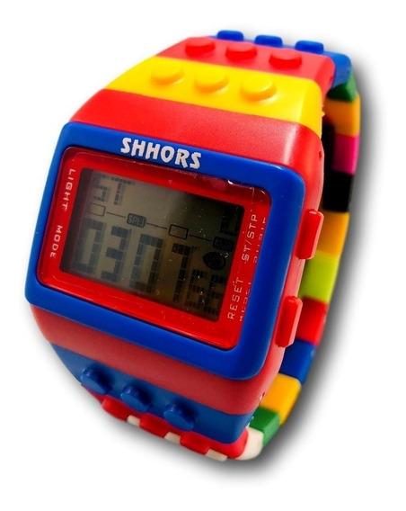 Reloj Lego Multicolor Con Luz Led Cronometro Fechador