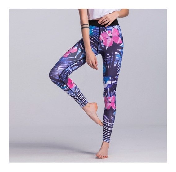 Leggings Deportivos Colombianos Lila Flores Yoga Gym Yofit