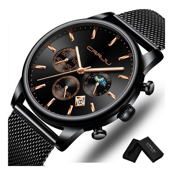 Relógio Masculino Crrju Cronógrafo E Calendário Luxo Estojo