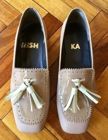 Mishka Mocasines Zapatos Impecables 35 5 Cuero Charol Crema