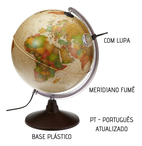 Globo Terrestre Político Vintage Marcopolo Abajur 30cm