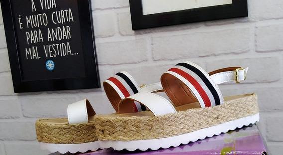 Sandália Flatform Feminino Corda Palha Branco