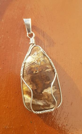 Dije En Plata 925, Piedra Semipreciosa Madera Cuarzificada