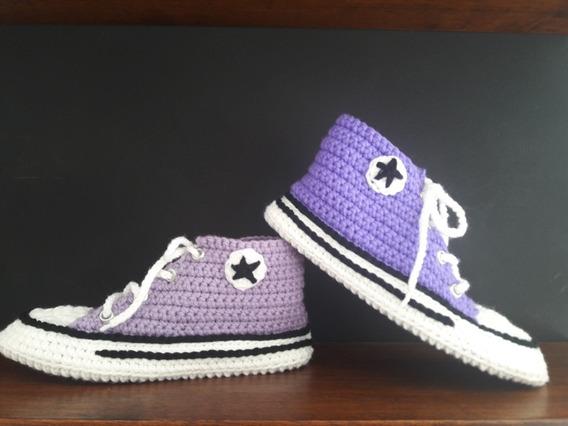 Pantuflas/ Botitas Con Onda! Crochet! Talles Y Colores!!