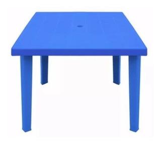 Mesa Cuadrada Plastico 80x80 Patas Desmont Color Azul