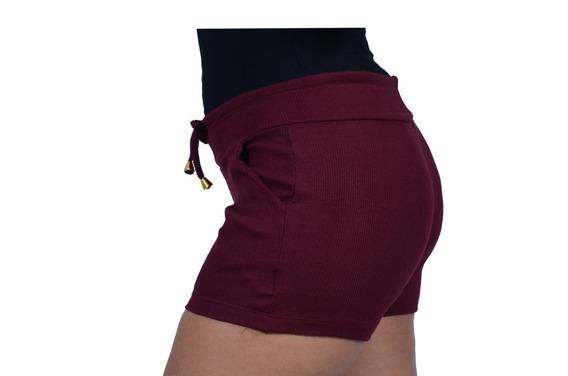 Kit 8 Short Cintura Alta Ribana Moletom Canelado Algodão 98%