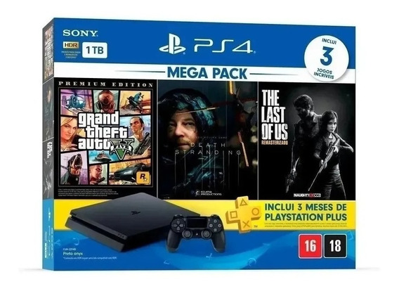 Playtation 4 Ps4 Slim Sony + 3 Jogos Garantia Oficial Sony