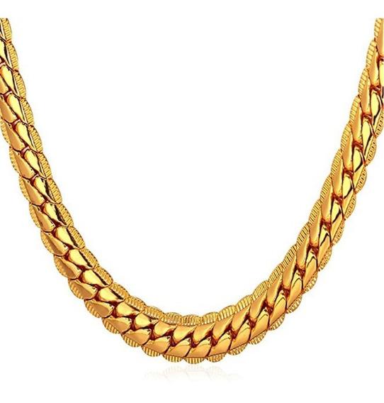 Colar Corrente Masculina Banhada 5 Camadas De Ouro 18k