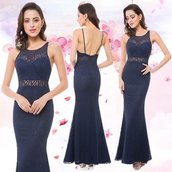 Vestido Fiesta Largo Encaje Azul Sexy Y Elegante Importado
