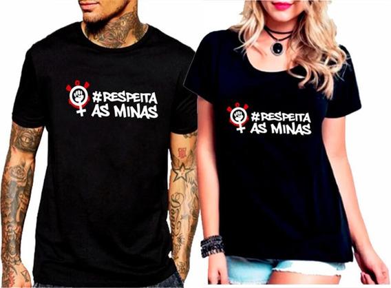 Baby Look Feminina E Camiseta Kit 2 Pç # Respeite As Minas