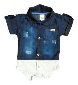 Body Camisa Para Bebês Manga Curta Jeans - Masculino
