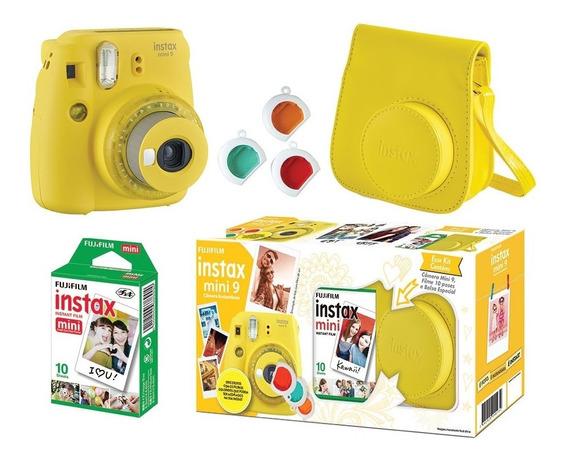 Kit Fujifilm Instax Mini 9 Amarelo Banana + Acessórios