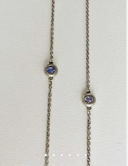 Colar Tiffany Original, Prata E Tanzanita.