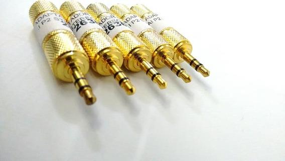 Plug Adaptador Entra P10 Sai P2 Stereo Dourado Kit C/ 5 Unid