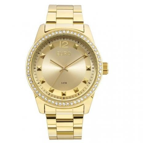 Relógio Euro Dourado Spike Roud, Eu2035yla/4d