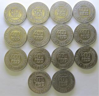 Arremate Lote 14 Moedas 400 Réis De 1918 A 1935 - Ref. 0111
