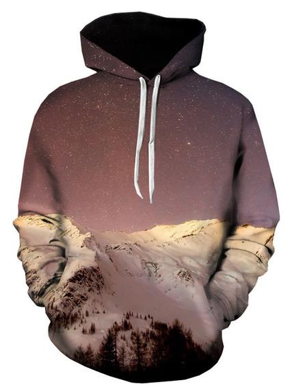 3d Neve Montanha Galáxia Impressão Estacionar Moletom Com