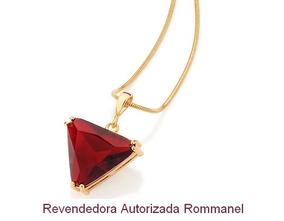 Pingente Cristal Triangular Rommanel Folheado Ouro 541947