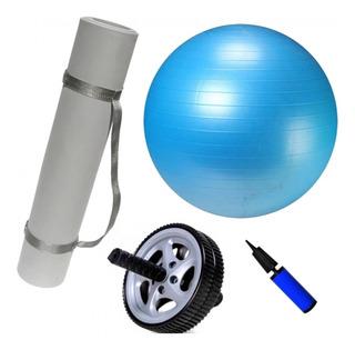 Kit Bola Suiça 65cm + Colchonete + Roda De Exercícios + Bomb