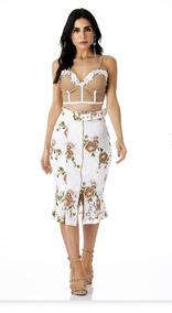 Saia Midi Renda Floral E Cropped Vanessa Lima Tam 38 E 40