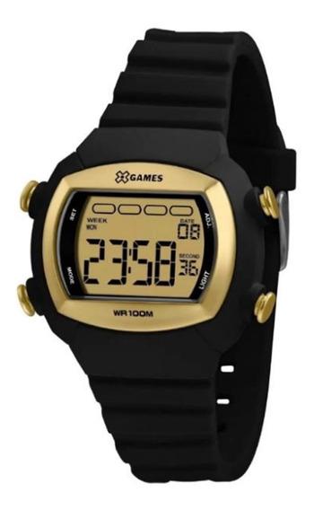 Relógio Xgames Preto E Dourado Quadrado Xlppd053 Cxpx