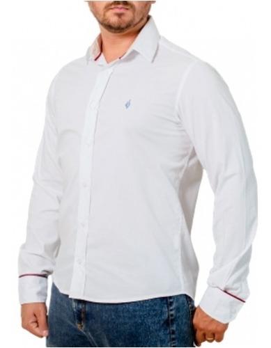 Camisa Social Lisa: Branca - Bianco Striscia Rossa 5-xg