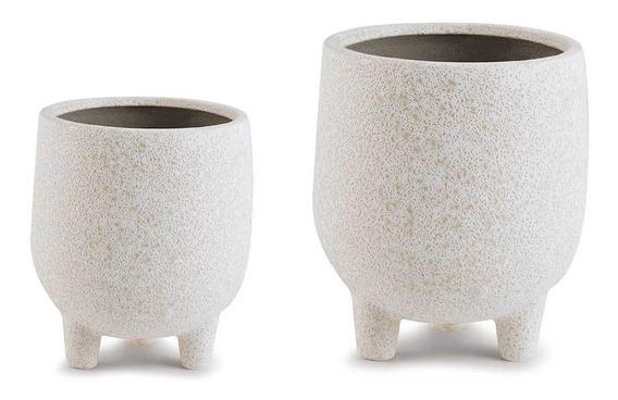 Conjunto De Cachepot Em Cerâmica Branco Com Detalhes Bege