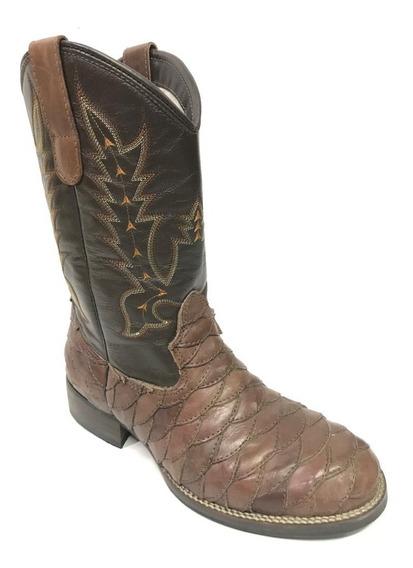 Bota Texana Country Masculina Montana Escamada Bico Redondo