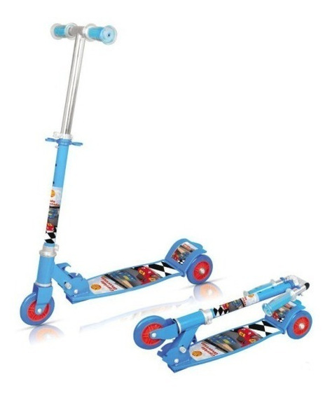 Patinete Carros Infantil 50kg 3 Rodas Radical Azul Decorado