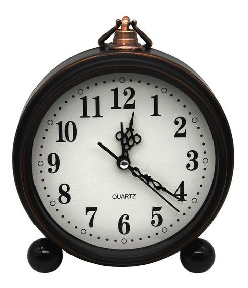 Relógio De Mesa Parede Retro Vintage Despertador Sem Tic Tac
