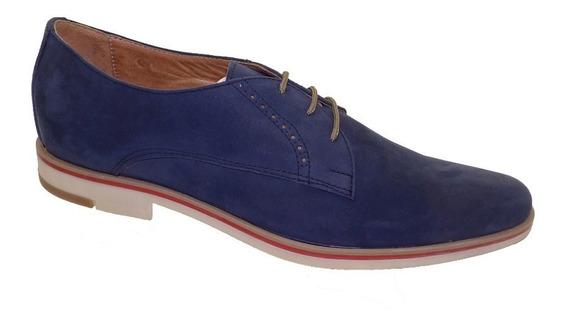 Zapato Cuero Nobuk Azul Base Tr. Art. 550