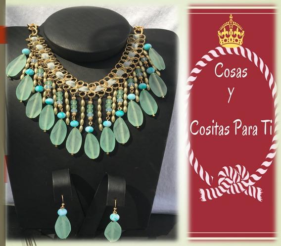 Set De Collar Y Aretes En Tonos Aqua Sophia & Kate Oferta!!