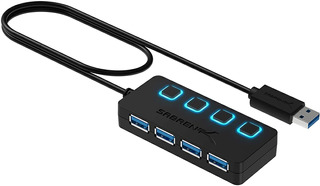 Hub Usb - Sabrent - 4 Port Usb 3.0 - Switch On/off Fuente 2a