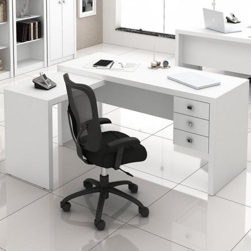 Mesa Em L Para Escritório Com 3 Gavetas Me4106 Tecno A