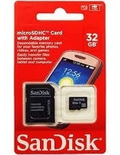 Cartão De Memória Micro Sd 32gb Sandisk Lacrado Adaptador