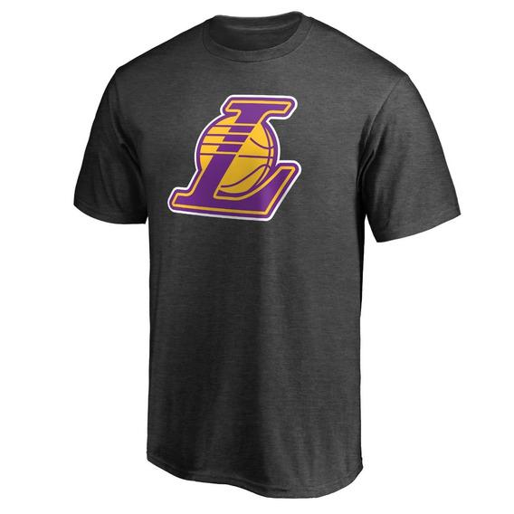 Remera Basket Nba Los Angeles Lakers Logo Algodon Negra