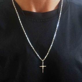 Corrente De Prata Masculina 60 Cm Com Crucifixo Manto
