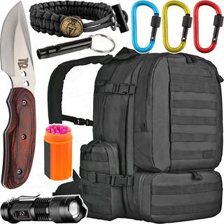 Kit Camping Mochila Defender 55l Invictus + Acessórios + Faca + Lanterna + Mosquetões + Pulseira Paracord