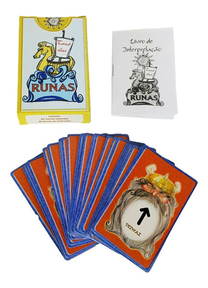 Tarô Das Runas Com Manual Baralho 25 Cartas Tarot Esoterico