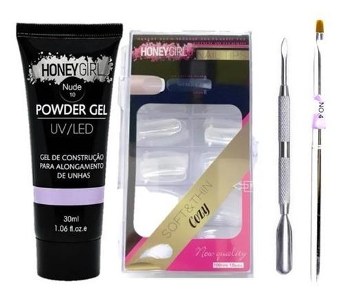 Kit Polygel Honey Girl Molde F1 E Espátula Pincel